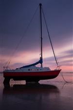 Costa, barco, mar, praia, noite, pôr do sol