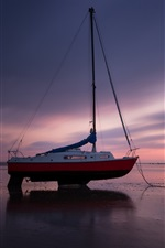 Coast, boat, sea, beach, evening, sunset