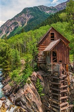 Preview iPhone wallpaper Colorado, water mill, river, forest, trees, mountains