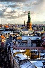 Preview iPhone wallpaper Copenhagen, city, houses, snow, clouds