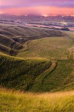 Preview iPhone wallpaper England, valley, fields, sky, evening, lights, summer