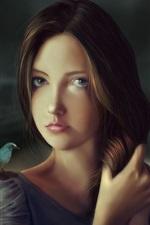 Fantasy girl, brown hair, bird