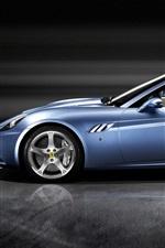 Preview iPhone wallpaper Ferrari California blue sports car side view