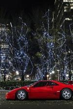 Preview iPhone wallpaper Ferrari F40 supercar, city, night, lights