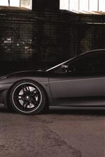 Ferrari F430 спортивный автомобиль, вид сбоку, матовый черный