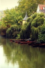 Germany landscape, fall, fog, river, boats, trees, houses