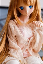 Preview iPhone wallpaper Golden hair girl, doll, toy, blue eyes