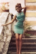 Green dress girl, vintage