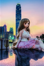 Preview iPhone wallpaper Hong Kong, China, city, buildings, toy, doll, beautiful girl
