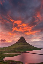 Preview iPhone wallpaper Iceland, Kirkjufell mountain, summer, sky, clouds, sunset
