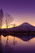 Preview iPhone wallpaper Japan, Honshu, volcano, Fuji mountain, morning, water, reflection