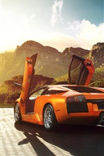 Preview iPhone wallpaper Lamborghini Murcielago V12 orange supercar back view
