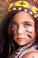 Preview iPhone wallpaper Little Indian girl, headpiece, warrior, colors