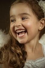 Pouco anjo, menina bonito, rir, retrato