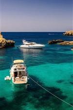 Malta, yachts, ocean, rocks, summer