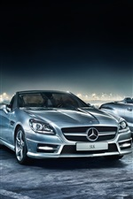 Preview iPhone wallpaper Mercedes-Benz cars at night