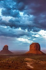 Preview iPhone wallpaper Monument Valley, USA, mountains, sky, blue clouds, evening