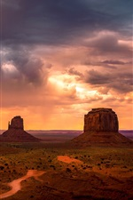 Preview iPhone wallpaper Monument Valley, USA, mountains, sky, red clouds, sunset