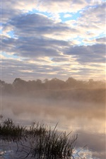 Preview iPhone wallpaper Morning, river, fog, grass, clouds