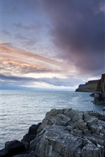 Preview iPhone wallpaper Neist Point Lighthouse, Isle of Skye, lighthouse, sea, rocks, dusk