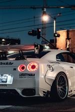 Nissan GT-R white supercar back view