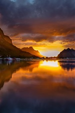 Preview iPhone wallpaper Norway, Reine, mountains, sunset, lake
