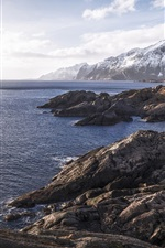 Preview iPhone wallpaper Norway, fjord, cliff, mountains, sea