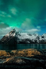Preview iPhone wallpaper Norway, night, mountains, Northern lights, coast