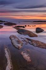 Norway, river, beach, stones, evening, sunset, sky, clouds