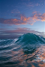 Preview iPhone wallpaper Ocean, sunset, sea wave, water