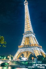 Preview iPhone wallpaper Paris, The Eiffel Tower, city, night, lights