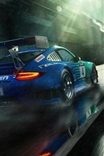 미리보기 iPhone 배경 화면 포르쉐 911 GT3 블루 다시 초차보기, 비 방울