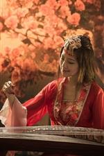 Preview iPhone wallpaper Red dress girl, asian, music, guzheng