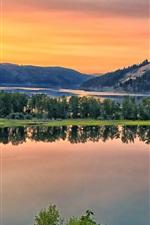 Saint Joe River, river, hills, water reflection, trees, dusk