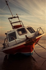 Preview iPhone wallpaper Sea, boat, low tide, sunset, coast