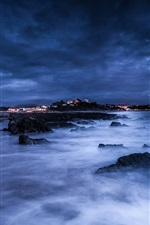 Preview iPhone wallpaper Sea, night, moon, clouds, rocks, shore, lights, blue