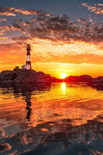 Preview iPhone wallpaper Shore, lighthouse, sunset, clouds, water reflection, red sky