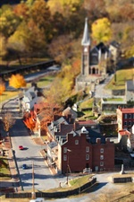 Preview iPhone wallpaper Small town, autumn, houses, road, trees, tilt-shift photography