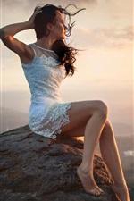 Sunset, girl, city, wind, height