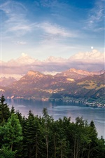 Preview iPhone wallpaper Switzerland, Lake Zurich, mountain, forest, clouds