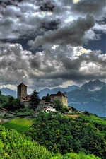 Preview iPhone wallpaper Tirol Village, South Tyrol, Italy, Tirol Castle, village, mountains, clouds