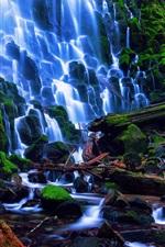 Preview iPhone wallpaper USA nature landscape, Oregon, Ramona Falls, stones