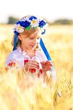 Ucrânia, crianças, menino, menina, campo de trigo