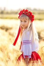 Ukraine, cute little girl, wheat field