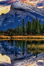 Preview iPhone wallpaper Vermillion Lakes, Banff National Park, Alberta, Canada, trees, mountains