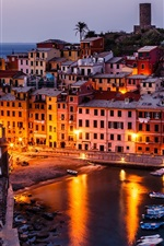 Preview iPhone wallpaper Vernazza, Italy, Cinque Terre, boats, buildings, night