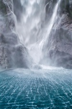 Preview iPhone wallpaper Waterfalls, rocks, water, fog
