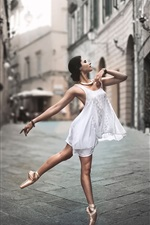 Preview iPhone wallpaper White dress girl dance in the street