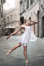 White dress girl dance in the street