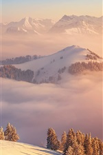 Preview iPhone wallpaper Winter, mountains, clouds, top view, Switzerland